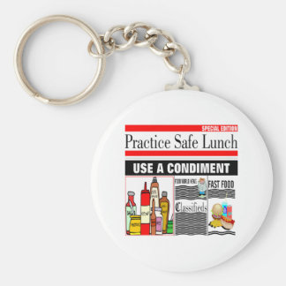 Practice Safe Lunch Keychain