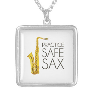 Practice Safe Sax Personalized Necklace
