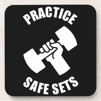 Practice Safe Sets - Gym Humor Beverage Coaster