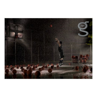 Practicing in the Rain - Basketball Poster
