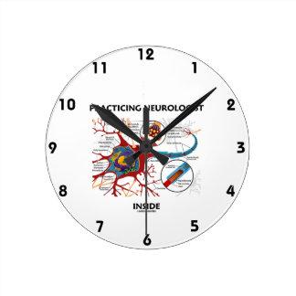 Practicing Neurologist Inside (Neuron Synapse) Round Clock
