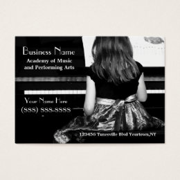 Practicing the Piano in Pretty Dress Business Card