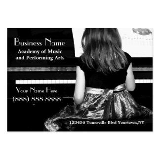 Practicing the Piano in Pretty Dress Large Business Card