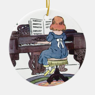 Practicing the Piano Double-Sided Ceramic Round Christmas Ornament