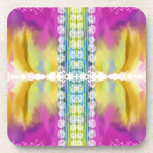 Práctico de costa abstracto colorido posavasos de bebida