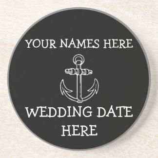 Práctico de costa adaptable del boda del ancla posavasos personalizados