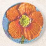 Práctico de costa anaranjado de la amapola de Parí Posavasos Diseño