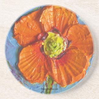 Práctico de costa anaranjado de la amapola de Parí Posavasos Personalizados