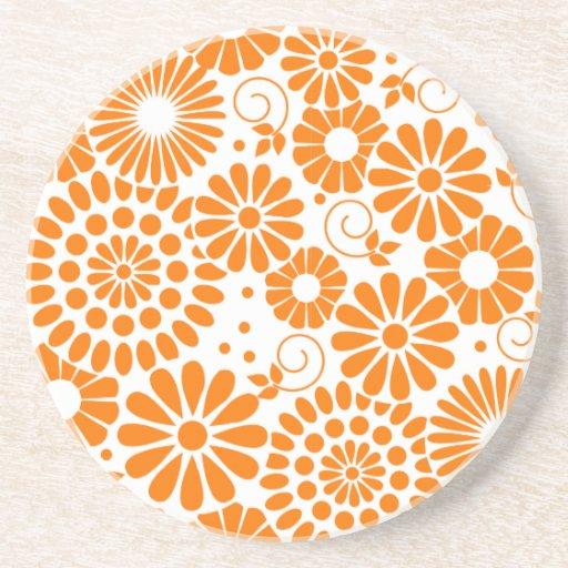 Práctico de costa anaranjado floral del vintage posavasos manualidades