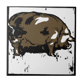 Práctico de costa animal del grabar en madera llam azulejo ceramica