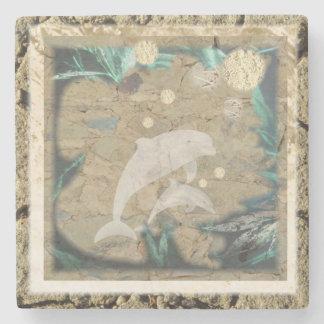 Práctico de costa antiguo del delfín posavasos de piedra