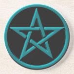 Práctico de costa azul claro del Pentagram Posavasos Diseño