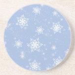 Práctico de costa azul de los copos de nieve posavasos diseño