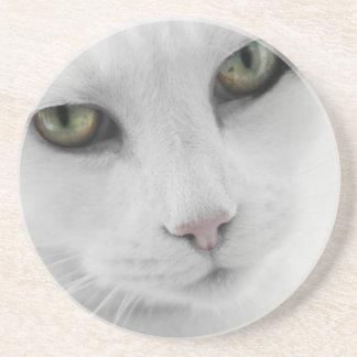 Práctico de costa blanco del gato posavasos para bebidas
