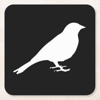 Práctico de costa blanco del pájaro posavasos personalizable cuadrado
