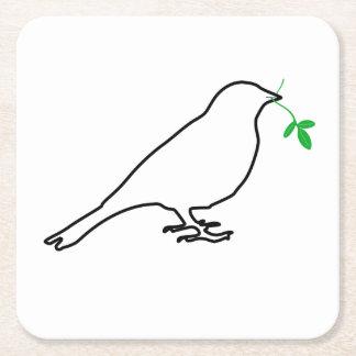 Práctico de costa blanco del pájaro y de la ramita posavasos personalizable cuadrado