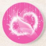 Práctico de costa brillante rosado de los corazone posavasos diseño