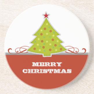 Práctico de costa caprichoso del árbol de navidad posavaso para bebida