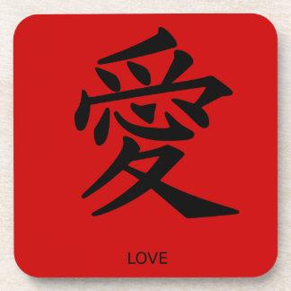 """Práctico de costa chino del """"amor"""" del símbolo posavasos"""