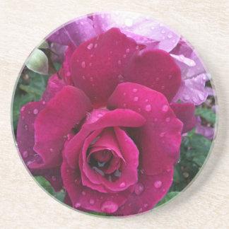 Práctico de costa color de rosa púrpura posavasos de arenisca