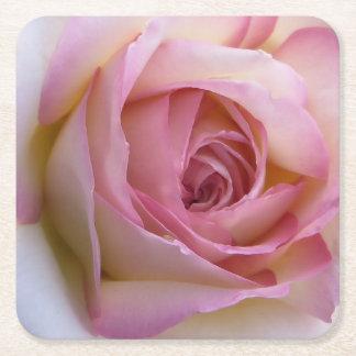 Práctico de costa color de rosa rosado posavasos desechable cuadrado