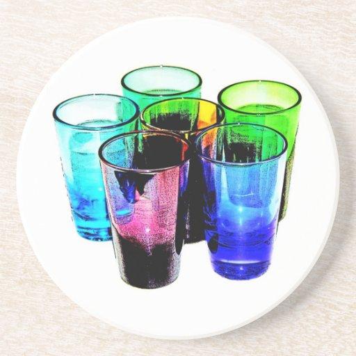 Práctico de costa coloreado 24 de los vasos de med posavasos para bebidas