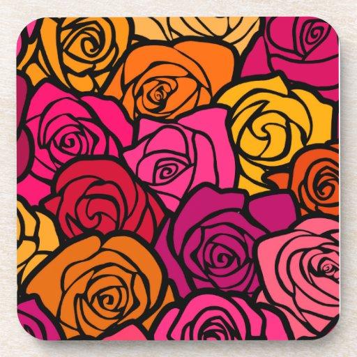 Práctico de costa colorido del corcho de los rosas posavasos de bebida