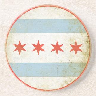 Práctico de costa con la bandera apenada de Chicag Posavasos Personalizados