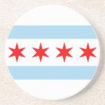 Práctico de costa con la bandera de Chicago, Illin Posavaso Para Bebida