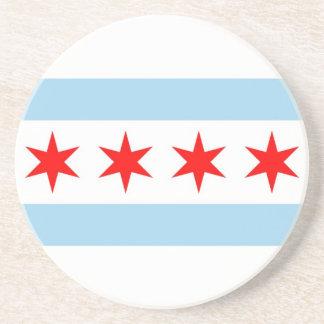 Práctico de costa con la bandera de Chicago, Illin Posavasos Para Bebidas