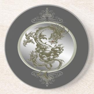 Práctico de costa de acero del dragón posavasos personalizados