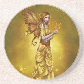 Práctico de costa de hadas celestial amarillo posavasos personalizados