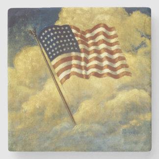 Práctico de costa de la bandera americana posavasos de piedra