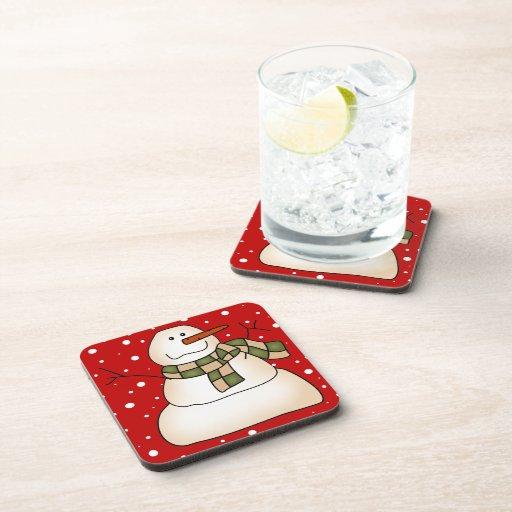 Práctico de costa de la bebida del muñeco de nieve posavasos