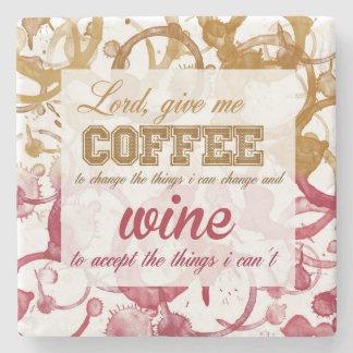Práctico de costa de la cita del vino y del café posavasos de piedra