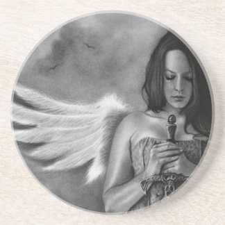 Práctico de costa de la espada del chica del ángel posavasos personalizados
