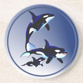 Práctico de costa de la familia de la orca posavasos diseño