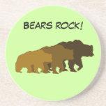 Práctico de costa de la familia del oso grizzly posavasos cerveza