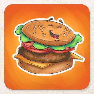 práctico de costa de la hamburguesa del dibujo posavasos personalizable cuadrado