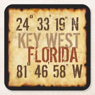 Práctico de costa de la latitud de Key West Posavasos Personalizable Cuadrado