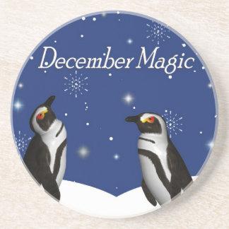 Práctico de costa de la magia de diciembre posavasos de arenisca