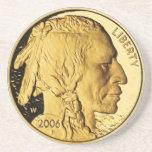 Práctico de costa de la moneda de oro posavasos diseño