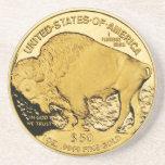 Práctico de costa de la moneda de oro posavasos manualidades