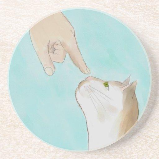 Práctico de costa de la nariz del gatito conmovedo posavasos para bebidas