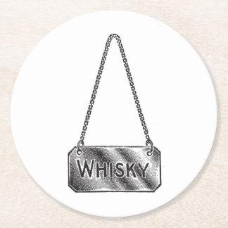 Práctico de costa de la placa del whisky del posavasos personalizable redondo