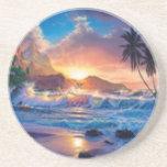 Práctico de costa de la playa de la puesta del sol posavaso para bebida