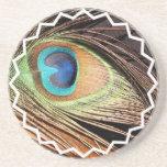 Práctico de costa de la pluma del pavo real posavasos manualidades