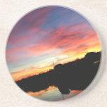Práctico de costa de la puesta del sol posavasos diseño