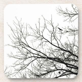 Práctico de costa de la silueta del árbol posavaso