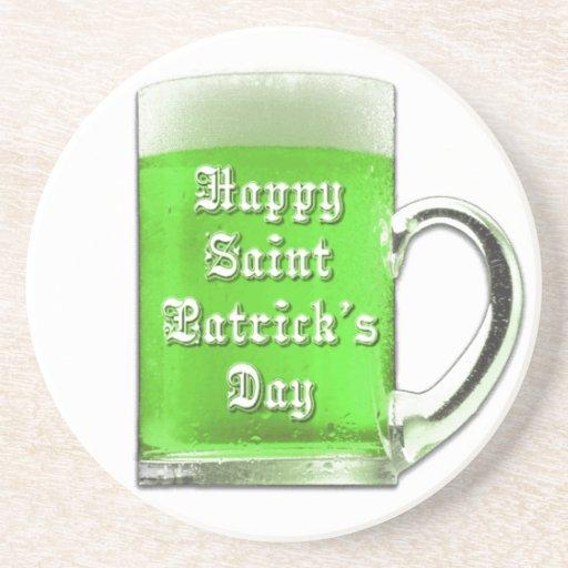 Práctico de costa de la taza de cerveza del verde  posavasos para bebidas